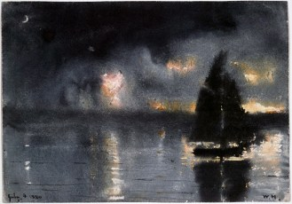 Sailboat and 4th of July Fireworks (1880)