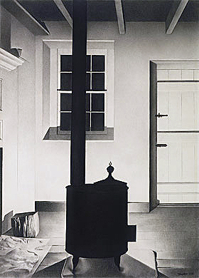 The Stove (1932, graphite pencil drawing, 71,1 x 53.3 cm)