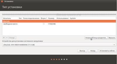 Новая таблица разделов для правильной установки Ubuntu 14.04  Linux