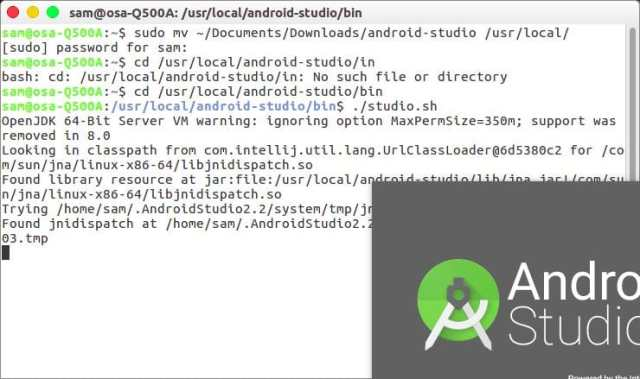launch android studio from terminal