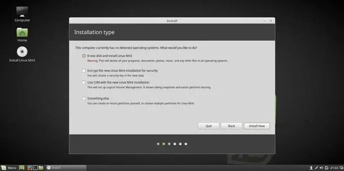linux mint 18 installation erase disk