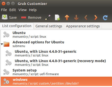 move grub customizer entry
