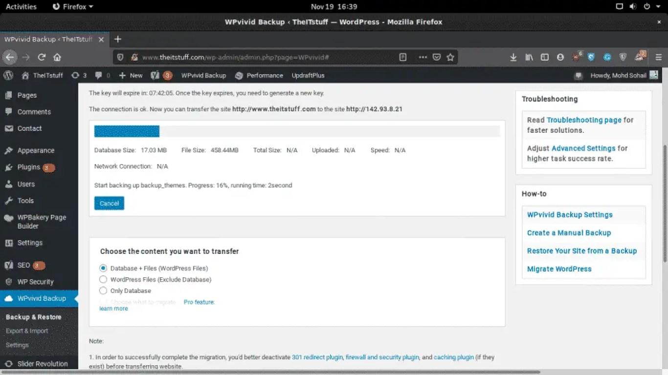 WPvivid backing up wordpress
