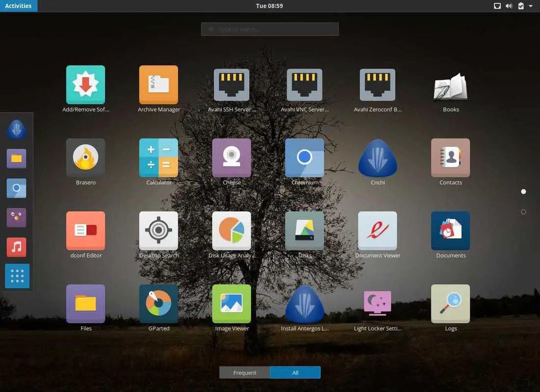 antergos application menu
