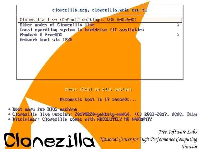 clonezilla live disk gui menu