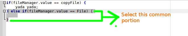 code selection a shortcut