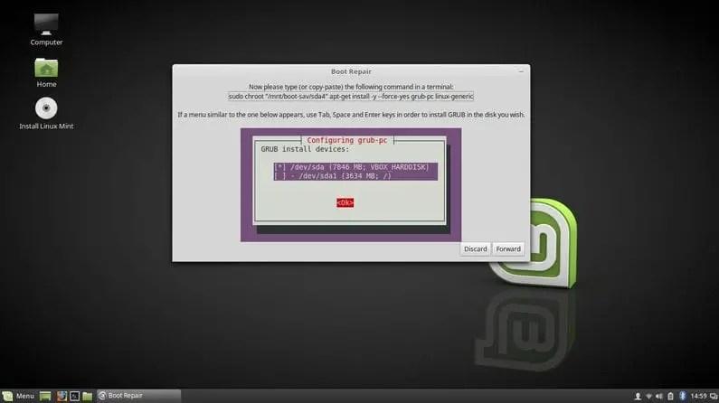 install grub menu and kernel to fix boot menu