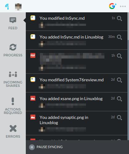 InSync files window