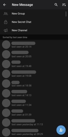 قائمة إنشاء رسالة جديدة في تلجرام