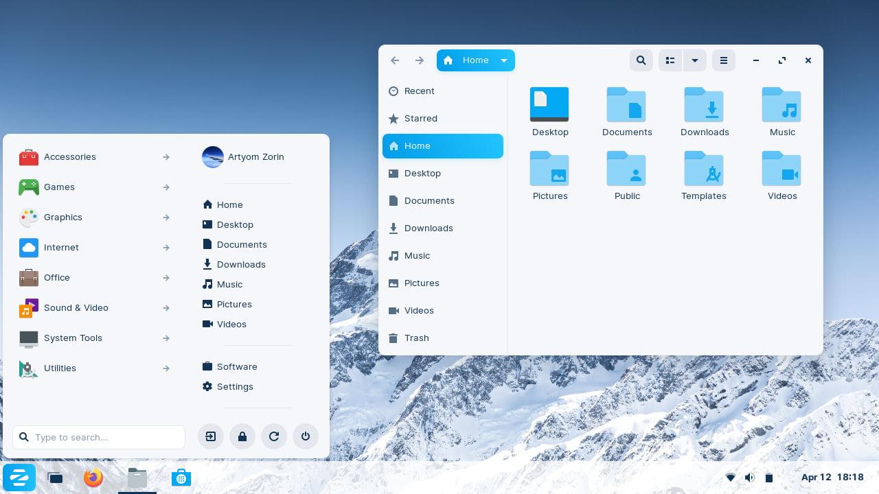 سطح المكتب الافتراضي في Zorin OS 16 Beta
