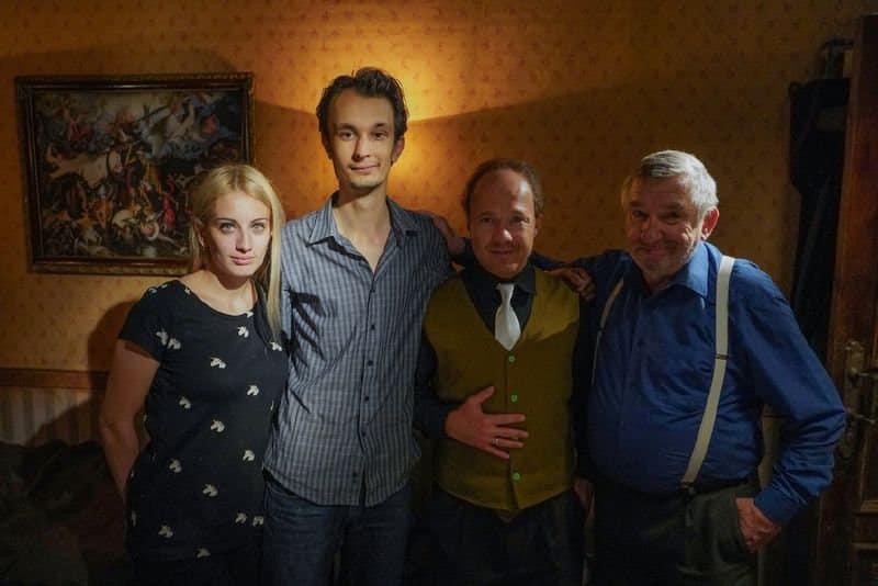Liliya Tkach, Nikita Ordynskiy, Evgeniy Stychkin (as the landlord), Anatoliy Menshikov (as the tenant)