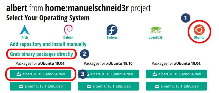 Download Albert binary package files