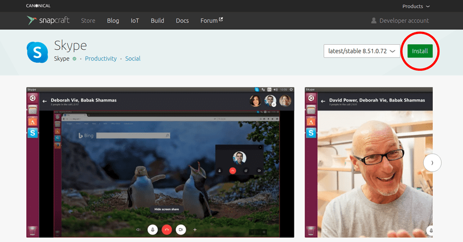 Install the skype using snap package