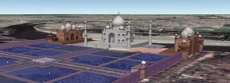 3d representation of Taj mahal on Google earth.png