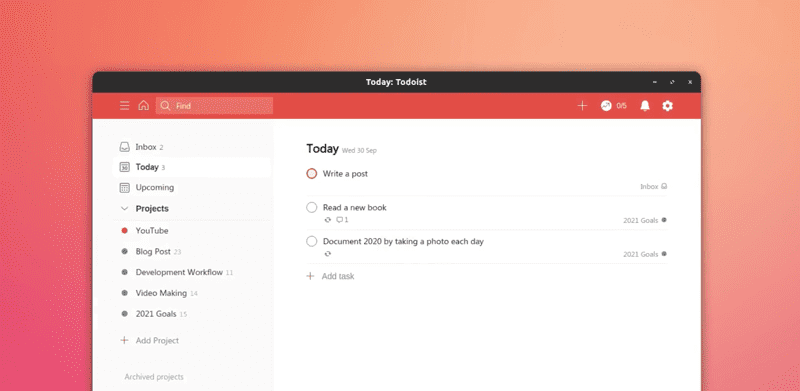 todoist application in Linux