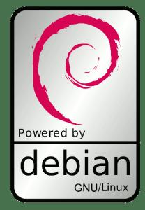 debian powered sticker