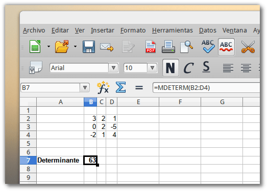 Calcular el determinante de una matriz 3x3 usando libre office