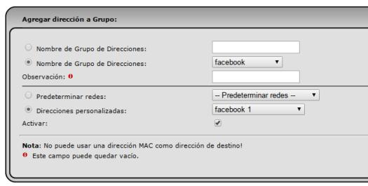 agregando direcciones al grupo de facebook