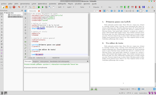 Trabajando un documento en Latex con TexStudio