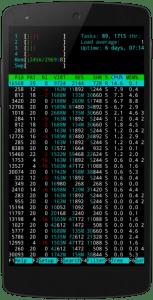 htop running on termux