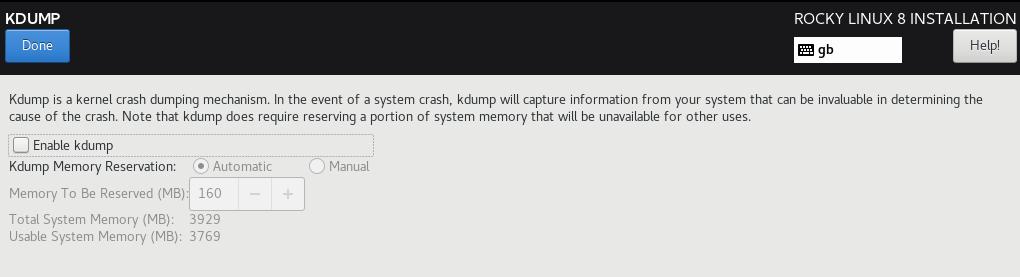 Rocky Linux KDUMP