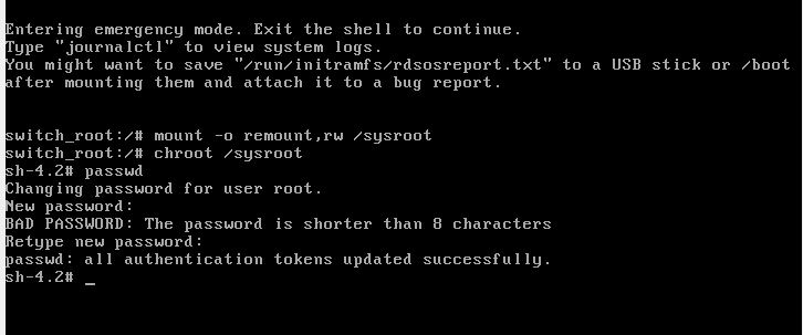 resetting root password