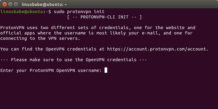Результат выполнения команды protonvpn init