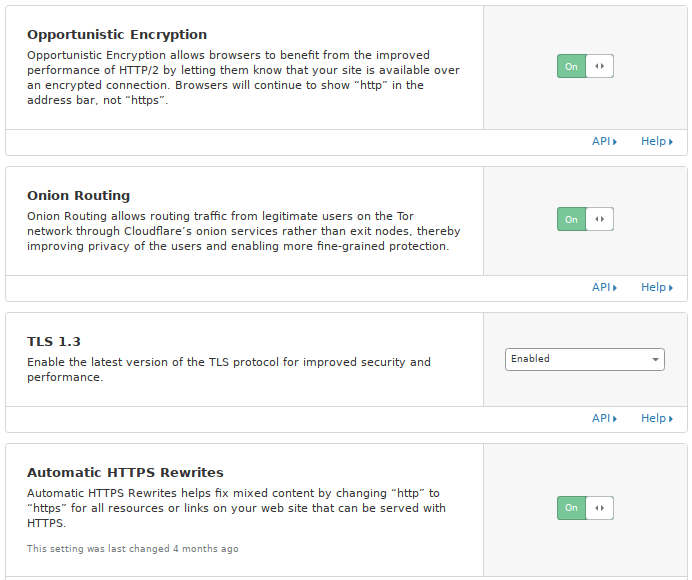 Cloudflare extra security settings