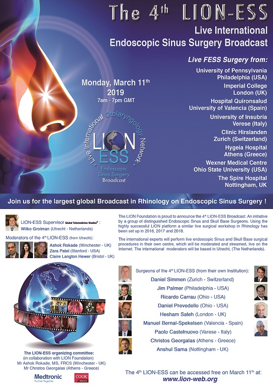 the 4rd lion sinus surgery on march 11th 2019 The 4rd LION Sinus Surgery on March 11th 2019 Flyer LION ESS 2019 V5 b