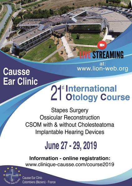 otology 21st International Otology Course June 27-29, 2019 at the Causse Ear Clinic, France Otology Course 2019 Advert for LION Web Site brochure  LION