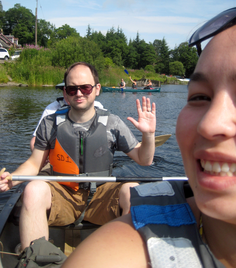 Kayaking Loch Lomond (eating a lunch of S's homebaked bread & cheese)