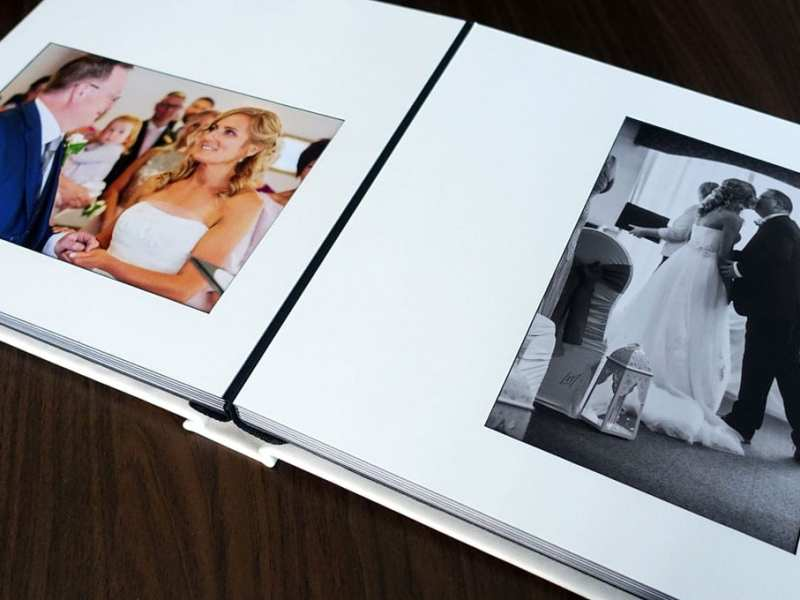 luxury traditional wedding album open pages