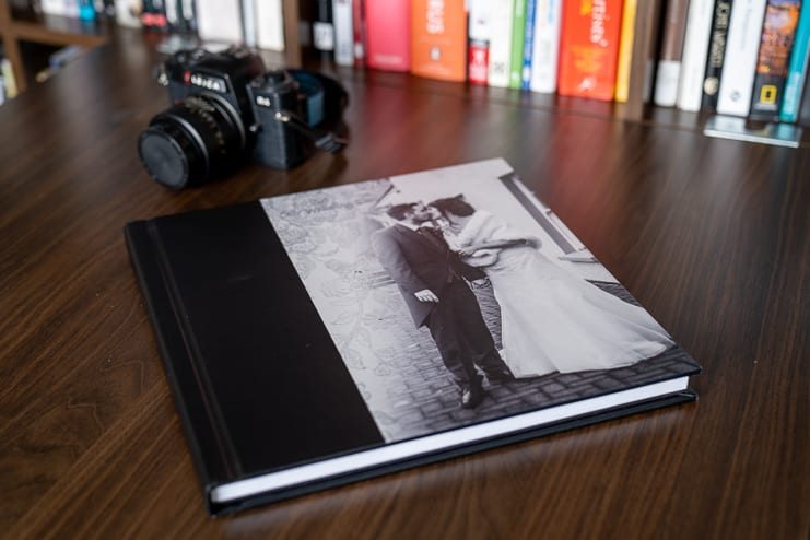 wedding photo storybook with bride and groom cover