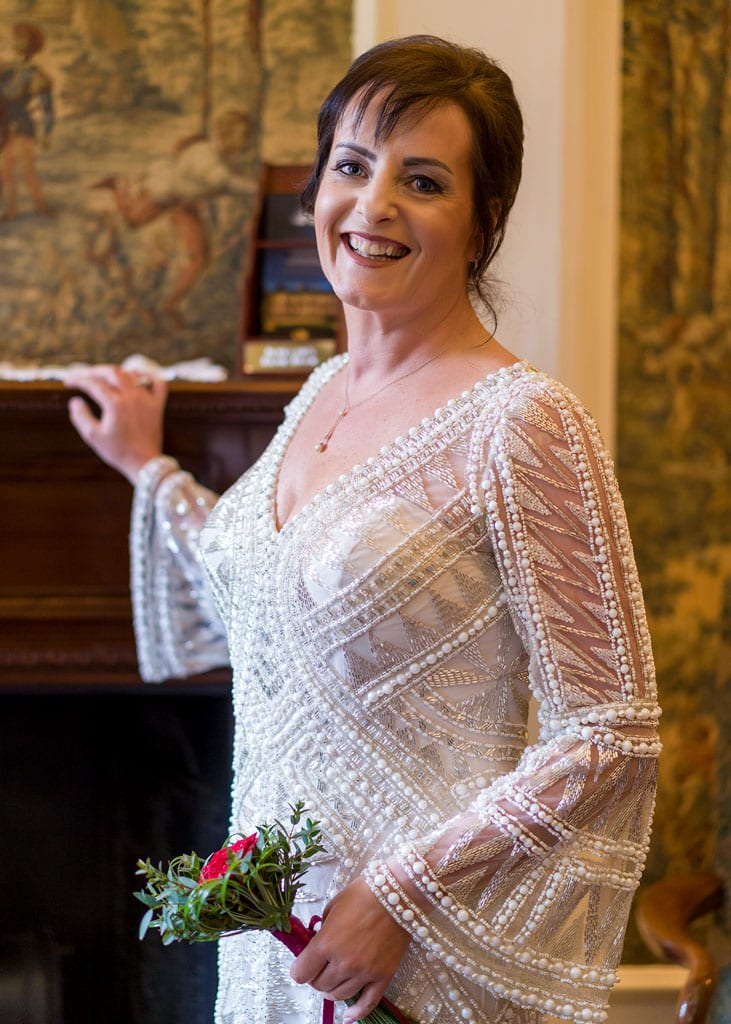 half length portrait of the bride