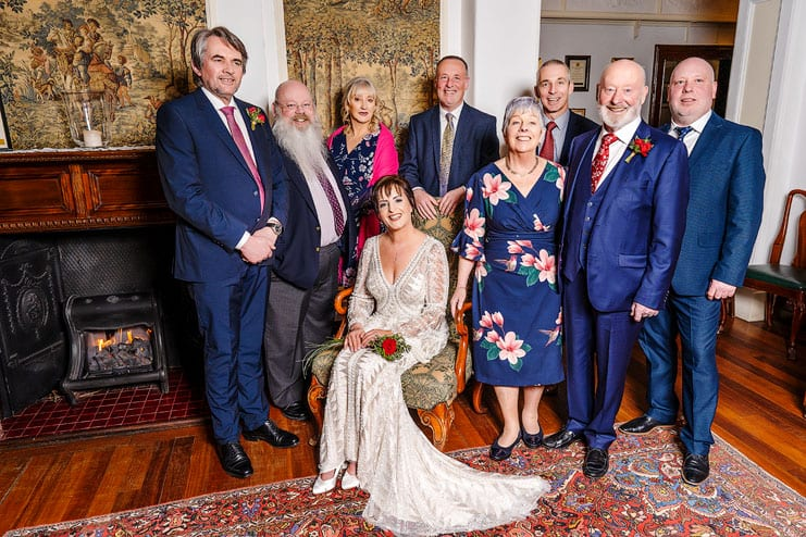group portrait of the bride and groom and the brides family
