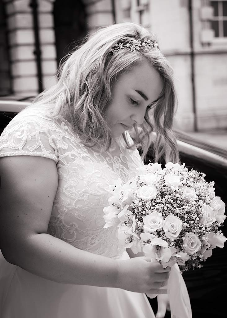 bride has a thoughtful moment