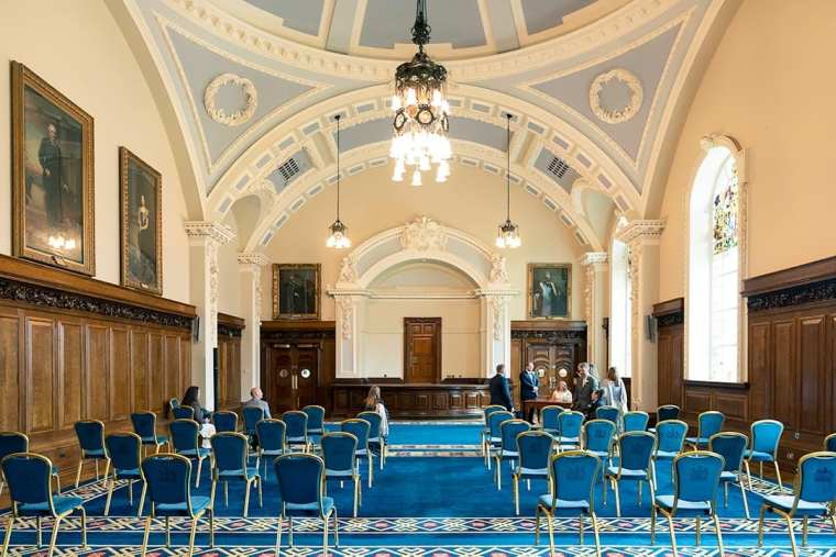 socially distanced wedding in the banqueting hall at belfast city hall