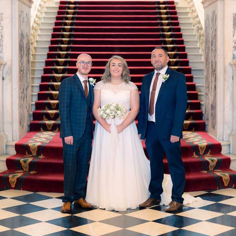 bridal portrait by grand staircase at belfast city hall