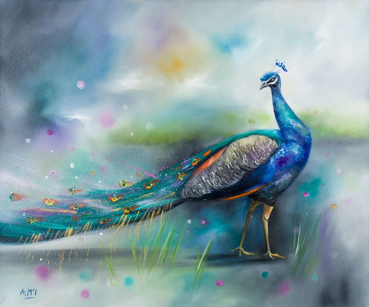 painting of an peacock by alison mcilkenny