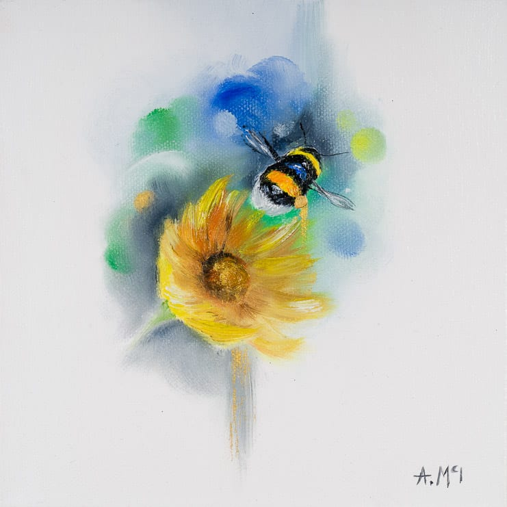 painting of an flower and bee by alison mcilkenny