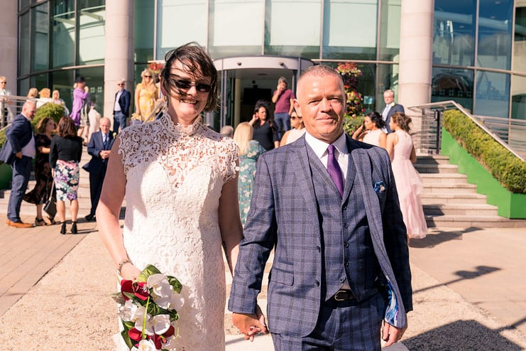 bride and groom after wedding at lagan valley civic centre