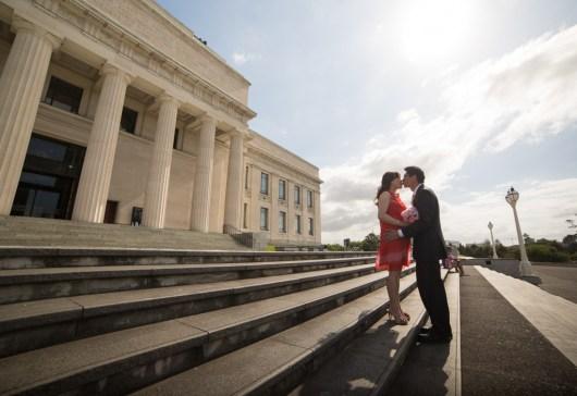 auckland domain museum wedding kiss