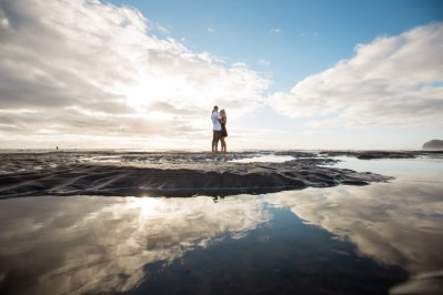 auckland engagement photography water reflection piha