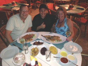Dining on fresh speared lionfish in Aruba