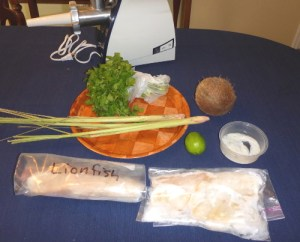 Lionfish sausage ingredients