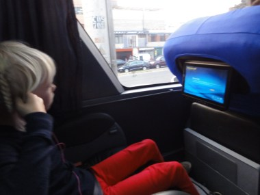 A getting ready to try her own, private bus screen