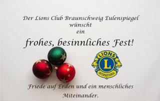 Der Lions Club Braunschweig Eulenspiegel wünscht frohe Weihnachten