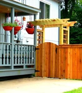 Cedar gate with arbor