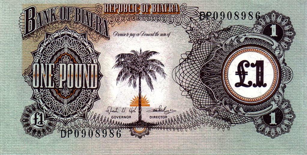 Biafra one pound bank note, circa 1947