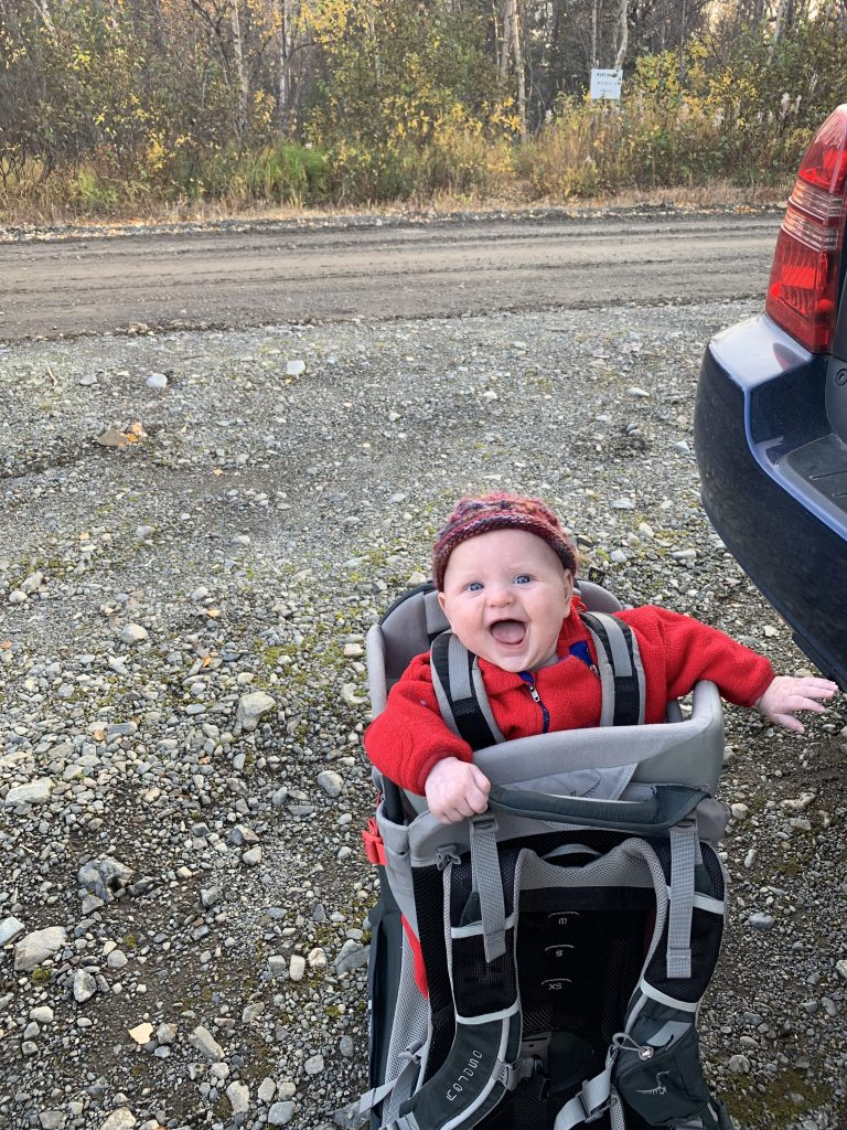 Baby Alder in carrier